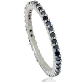 1/2ct Black Raw Diamond Prong Set Eternity Ring 14K White Gold (Black, )