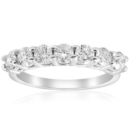 1ct Diamond Wedding  Anniversary Ring 14K White Gold (G/H, I1)