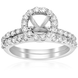 7/8ct Diamond Engagement Wedding Ring Setting 14K White Gold Mounting (G/H, I1)