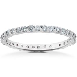 7/8Ct Lab Created Diamond Eternity Wedding Ring 14k White Yellow or Rose Gold (F, VS(2)-SI(1))