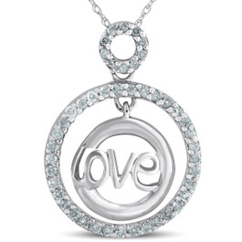 14k White Gold 1/2ct Diamond Love Circle Pendant Necklace (G/H, I2)