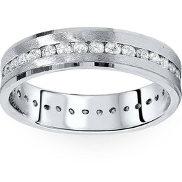 1 1/4ct Channel Set Diamond Brushed Ring 14K White Gold (G/H, I1)