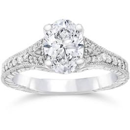 1 1/4ct oval Diamond Vintage Engagement Ring 14K White Gold (H/I, I1-I2)