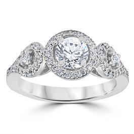1ct Diamond Engagement Ring Three Stone Pave Halo Ring 14K White Gold (G/H, I2)