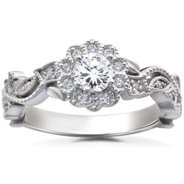 1/2CT Diamond Vintage Petal Engagement Round Halo Ring 14K White Gold (H/I, I1-I2)
