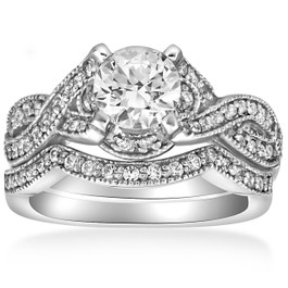 1 1/2ct Infinity Vintage Diamond Engagement Ring Set 14K White Gold (G/H, I1-I2)
