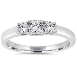 3/4CT Diamond 3 Stone Engagement Ring 14K White Gold (H/I, I1-I2)