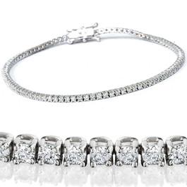 "2 1/2ct Diamond Tennis Bracelet Solid 14K White Gold 7"" (H, I1)"