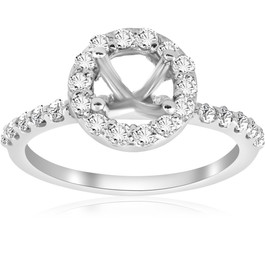 1/2ct Diamond Halo Engagement Ring Setting 14K White Gold (G/H, SI)
