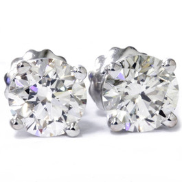 3 CT Round Lab Created Diamond Screw Back Studs 14K White Gold (E, SI)