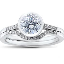 1 1/5 ct Lab Grown Diamond Engagement Ring Set 14k White Gold (((G-H)), VS1/VS2)
