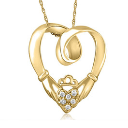 Claddagh Diamond Pendant 14K Yellow Gold (G/H, I2-I3)