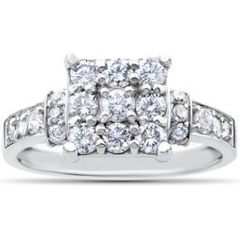 1ct Diamond Cluster Halo Engagement Ring 14k White Gold (H/I, I1-I2)