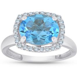 2ct Oval Blue Topaz and Diamond Halo Ring 10K White Gold (H/I, I1-I2)
