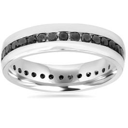 Mens 1 1/4ct Channel Set Black Diamond Eternity Ring Wedding Band 10K White Gold (Black, AAA)