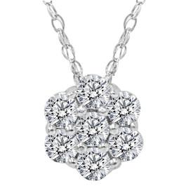 SI 1/2ct Round Diamond Solitaire Cluster Pendant 14 Karat White Gold (G/H, SI)