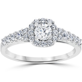 3/4CT Cushion Halo Round Diamond Engagement Ring 14K White Gold (H/I, I1-I2)
