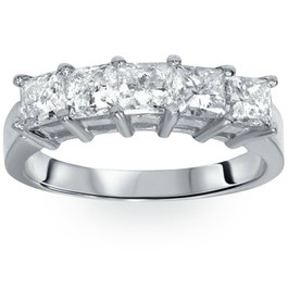 2ct Princess Cut Diamond Wedding Anniversary Ring Womens Band 14k White Gold (H, I1)