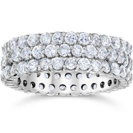 3 1/2ct 3-Row Lab Grown Diamond Eternity Ring 14K White Gold (F, VS)
