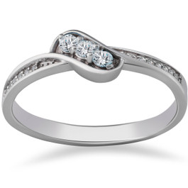 1/6ct 3-Stone Diamond Promise Engagement Ring 14K White Gold (G/H, I1-I2)