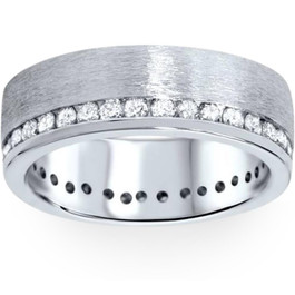 1 1/10ct Diamond Eternity Wedding Ring Brushed 14K Band (G/H, I1)