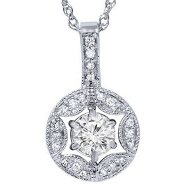 1/2ct Vintage Diamond Round Solitaire Pendant 14K White Gold (G, SI2-I1)