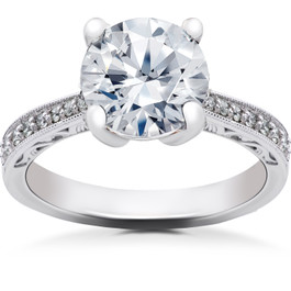2 1/6 ct Lab Created Eco Friendly Diamond Vintage Engagement Ring 14k White Gold (F, VS)