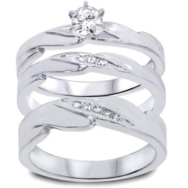 1/3ct Diamond Engagement Wedding Ring Trio Set 10K White Gold (I/J, I2-I3)