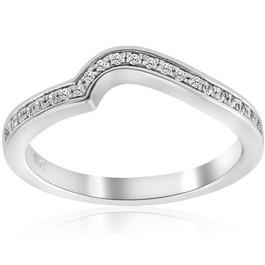 1/10ct Curved Diamond Wedding Ring 14K White Gold (G/H, SI1-SI2)