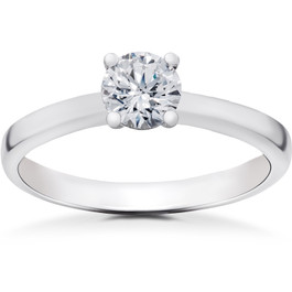 1/2 ct Lab Grown Diamond Elizabeth Solitaire Engagement Ring 14k White Gold (F, VS/SI)