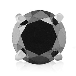 Mens 1/2ct Black Diamond Single Stud Earring 10K White Gold (Black, AAA)