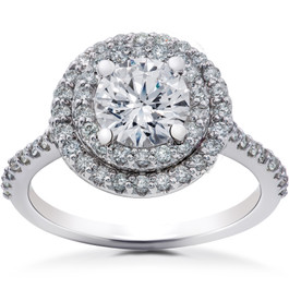 2 1/8 ct Double Halo Diamond Eco Friendly Lab Grown Engagement Ring 14k Gold (F, VS)