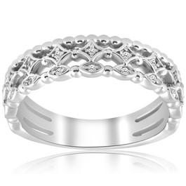 1/8ct Vintage Diamond Stackable Wedding Ring 14k White Gold (H/I, I1-I2)