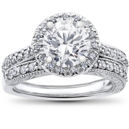2 1/2 ct Halo Diamond Engagement Vintage Matching Wedding Ring White Gold (G/H, I1)