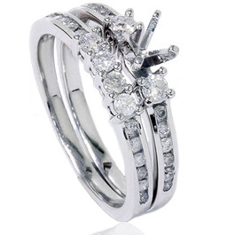 1/2ct Diamond Engagement Wedding Ring Semi Mount 14K White Gold (G/H, I2)