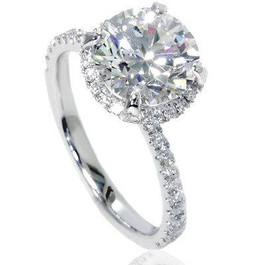 2 1/2ct Halo Diamond Engagement Ring 14K White Gold (G/H, SI2-I1)