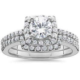1 1/4ct Diamond Cushion Halo Engagement Matching Wedding Ring 14K White Gold (G/H, I1)