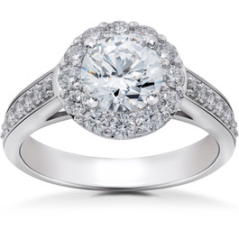 2 ct Halo Eco Friendly Lab Grown Diamond Engagement Ring 14k White Gold (F, VS)