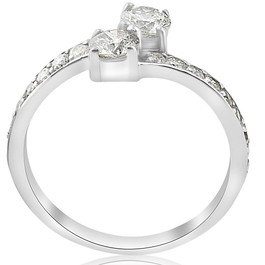 ffda38701ce9 1 Carat Forever Us Diamond Two Stone Engagement Ring 10K White Gold (G-H,  I1-I2)