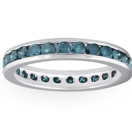 1 1/2ct Blue Diamond Channel Set Eternity Ring 14K White Gold (Blue, I1)