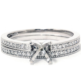 1/4t Diamond Engagement Wedding Ring Semi Mount Set 14K White Gold (G/H, I2)