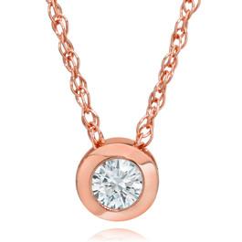 1/3ct Round Bezel Solitaire Diamond Pendant Rose Gold (H/I, I2/I3)