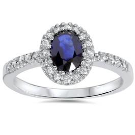 3/4ct Oval Blue Sapphire Halo Diamond Ring 14K White Gold (G, I2-I3)