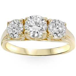 2ct Three Stone Diamond Engagement Ring 14K Yellow Gold ((G-H), SI(1)-SI(2))