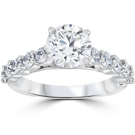 Diamond Engagement Ring 2 Carat Round Cut Solitaire 14K White Gold Enhanced ((G-H), SI(1)-SI(2))