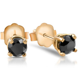 1/2 Ct Round Heat Treated Black Diamond 14K White Or Yellow Gold Stud Earrings in Basket Setting (Black, AAA)