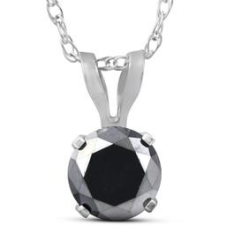 1/2ct Black Diamond Solitaire Pendant 14K White Gold (Black, AAA)