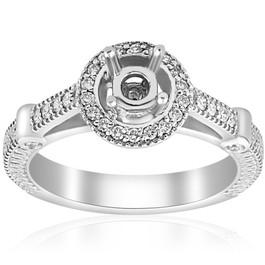 Diamond Engagement Ring Setting Semi Mount Ring 14K White Gold (G/H, I2)