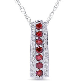 "1 1/2ct Ruby & Diamond Pendant 14 Karat White Gold 1"" Tall (G/H, I1-I2)"