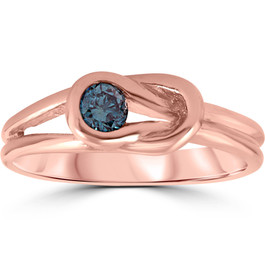 1/5ct Knot Treated Blue Diamond Solitaire Promise Ring 14K Rose Gold (Blue, I1)